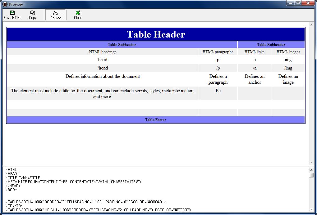 HTML TableFactory — Badevlad Software Company